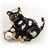 Black Enamel Cat&Ball Brooch