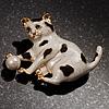White Enamel Cat&Ball Brooch