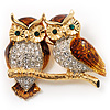 Two Gold Crystal Sitting Owls Brooch