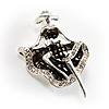 Silver Tone &#039;Dancing Lady&#039; Crystal Brooch