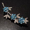 Rhodium Plated Blue Diamante Flower Bouquet Brooch