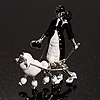 'Lady & Dog' Enamel Fashion Brooch (Black&White)