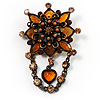 Vintage Statement Charm Brooch (Citrine&Amber)