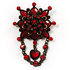 Vintage Statement Charm Brooch (Red)