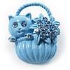 Kitten In The Basket Crystal Brooch (Lavender Blue)