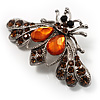 Citrine Crystal Moth Brooch