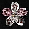 Enamel Crystal Flower Brooch (Pink&Silver)