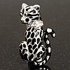 Black Enamel Leopard Brooch (Silver Tone)