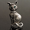 Vintage Cat Brooch (Antique Silver Tone)