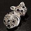Little Kitty Diamante Brooch (Silver Tone)