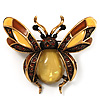 Large Enamel Bug Brooch (Brown&amp;Yellow)