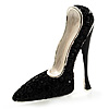 Jet Black Swarovski Crystal Stiletto Shoe Brooch (Silver Tone)
