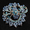 Blue Diamante Corsage Brooch