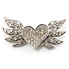 Small Heart & Wings Clear Crystal Fashion Brooch
