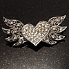 Small Heart &amp; Wings Clear Crystal Fashion Brooch