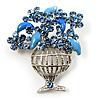 Blue Crystal Flower Basket Brooch