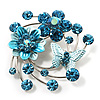 Fancy Butterfly And Flower Brooch (Sky Blue)