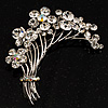 Flower And Butterfly Cluster Crystal Brooch (Clear)
