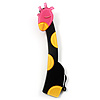 Tall Black Plastic Giraffe Brooch