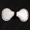 White & Black Plastic Bow Brooch