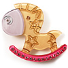Rocking Horse Plastic Crystal Brooch (Sandy,Beige& Pink)