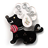 Cute Plastic &#039;Lady Poodle&#039; Brooch (Black&amp;White)