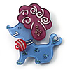 Cute Plastic &#039;Lady Poodle&#039; Brooch (Blue&amp;Purple)
