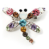 Swarovski Crystal Dragonfly Brooch (Multicoulored)