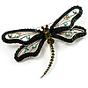Jumbo Sequin Dragonfly Brooch (Silver, Green&Olive)