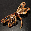 Jumbo Sequin Dragonfly Brooch (Gold Tone & Amber Coloured)