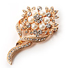 Bridal Faux Pearl Crystal Floral Brooch (Gold Tone)