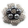 6-Petal Imitation Pearl Floral Brooch (Silver&Dark Grey) - 45mm D