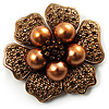6-Petal Imitation Pearl Floral Brooch (Copper&Gold Brown)