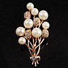 Faux Pearl Floral Brooch (Gold &amp; White)