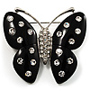 Large Black Resin Butterfly Brooch (Silver Tone)