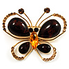 Amber Coloured Resin Stone, Crystal Butterfly Brooch (Gold Tone)