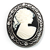 Vintage Antique Silver Cameo Crystal Brooch