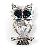 Stunning CZ Owl Brooch (Silver Tone)