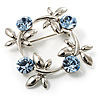 Small Butterfly Crystal Wreath Brooch (Silver&Light Blue)