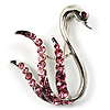 Pink Crystal Swan Brooch (Silver Tone)