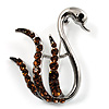 Amber Coloured Crystal Swan Brooch (Silver Tone)