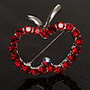 Red Crystal Open-Apple Brooch (Silver Tone)