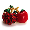 Tiny Diamante Cherry Pin (Gold Tone)