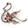 Graceful Pink Crystal Swan Brooch (Silver Tone)