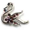 Graceful Lilac Crystal Swan Brooch (Silver Tone)