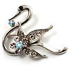 Graceful Clear Crystal Swan Brooch (Silver Tone)