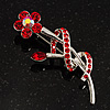 Red Crystal Daisy Brooch (Silver Tone)