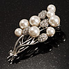 Faux Pearl Floral Brooch (Silver & White)
