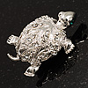 Small Crystal Turtle Brooch (Silver Tone)