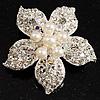 Bridal Imitation Pearl Crystal Flower Brooch (Silver Tone)